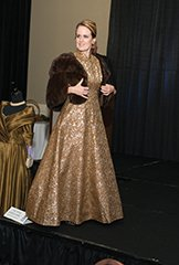 Danielle Cantrell modeling a gold brocade dress with a mink from the 1950s..jpg