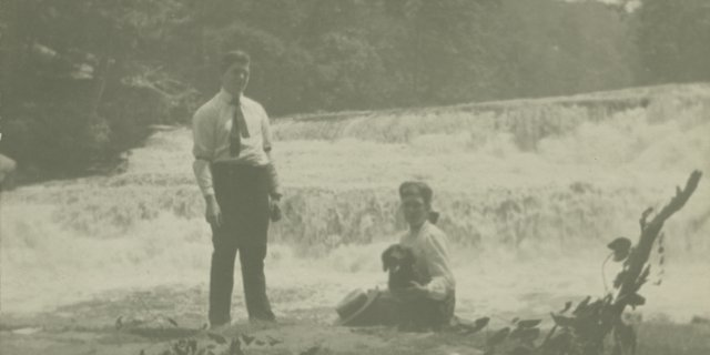 5-20 A Riverday Walk Through Time - Gorge 1929 - Couple with dog at falls.jpg
